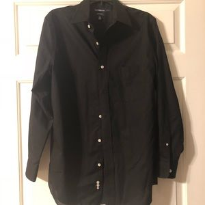 Black dress shirt with white buttons
